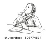 sketch of girl thinking with... | Shutterstock .eps vector #508774834