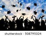 students graduate cap throwing...   Shutterstock . vector #508795324