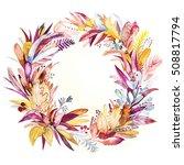 autumn leaves wreath | Shutterstock . vector #508817794