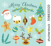 set of cute christmas elements. ... | Shutterstock .eps vector #508820320