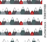 red houses and snowy mountains... | Shutterstock .eps vector #508859488