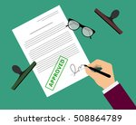 man in suit claims contract by...   Shutterstock .eps vector #508864789