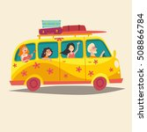 bus with traveling happy people.... | Shutterstock .eps vector #508866784
