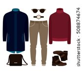 set of trendy men's clothes... | Shutterstock .eps vector #508874674