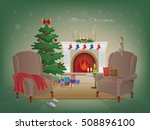 merry christmas home interior... | Shutterstock .eps vector #508896100