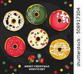 merry christmas style donuts... | Shutterstock .eps vector #508917304