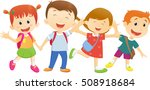 children go to school with a... | Shutterstock .eps vector #508918684