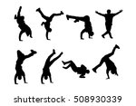 silhouettes of breakdancers.... | Shutterstock .eps vector #508930339