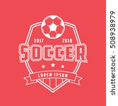 soccer emblem line icon on red... | Shutterstock .eps vector #508938979