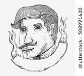 barber boy drawing sketch line... | Shutterstock .eps vector #508991620