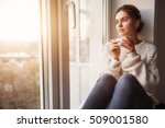 beautiful young woman drinking... | Shutterstock . vector #509001580