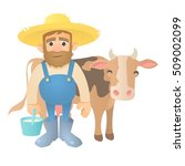 Farmer With Cow Icon. Flat...