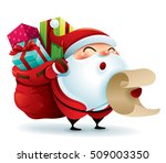santa claus carrying sack full... | Shutterstock .eps vector #509003350