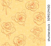 orange floral background with... | Shutterstock . vector #509019430
