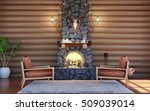 room interior in log cabin... | Shutterstock . vector #509039014