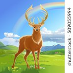 Majestic Adult Red Deer In The...