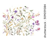 watercolor abstract wildflowers ... | Shutterstock . vector #509059384
