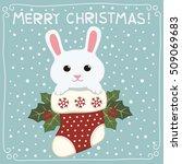 Merry Christmas. Cute Bunny...