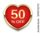 50  off golden badge  vector.   Shutterstock .eps vector #509076373