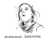 sketch of girl looking... | Shutterstock .eps vector #509079790