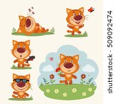 Stock vector kitten cat in cartoon style vector set kitten cat in different poses on summer meadow with flowers 509092474
