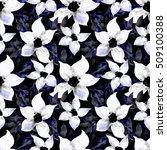 watercolor flower seamless...   Shutterstock . vector #509100388