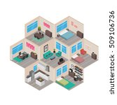 isometric house rooms  home set | Shutterstock .eps vector #509106736