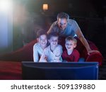 at home by night  cheerful... | Shutterstock . vector #509139880