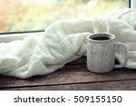hot drink with plaid on... | Shutterstock . vector #509155150