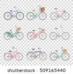 set of retro bicycles isolated... | Shutterstock .eps vector #509165440