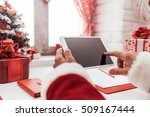 santa claus working at desk and ... | Shutterstock . vector #509167444