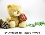 Bear Is Holding Christmas Gift...