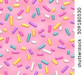 seamless pattern of pink donut... | Shutterstock .eps vector #509180530