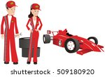 pit crew fixing auto. | Shutterstock .eps vector #509180920