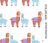 seamless pattern with lamas and ... | Shutterstock .eps vector #509187313