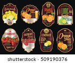 set of organic fruit retro... | Shutterstock .eps vector #509190376