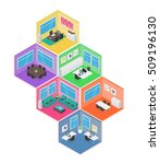 isometric office vector... | Shutterstock .eps vector #509196130