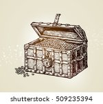 pirate treasure chest with... | Shutterstock .eps vector #509235394
