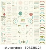 Set Of 200 Colorful Hand Drawn...
