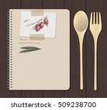 recipes notebook and olives... | Shutterstock .eps vector #509238700