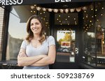 female business owner stands... | Shutterstock . vector #509238769