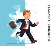 business man breaking through... | Shutterstock .eps vector #509249956