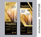 gold roll up layout template.... | Shutterstock .eps vector #509259388