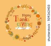thanksgiving festive frame or... | Shutterstock .eps vector #509262403
