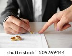 man signing marriage contract ... | Shutterstock . vector #509269444