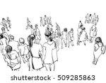 crowd walking illustration   Shutterstock . vector #509285863