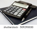 planner with pen and calculator ... | Shutterstock . vector #509290030