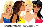 beauty face girls  woman face ... | Shutterstock .eps vector #509301874