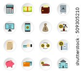 banking icons set. flat... | Shutterstock . vector #509305210