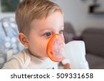 little boy taking inhalation...   Shutterstock . vector #509331658